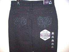 NEW Ladies Sz 6 Gloria Vanderbilt Slimming Amanda Embellished Black Jeans $40
