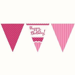 HAPPY BIRTHDAY Girls Perfectly PINK Party Paper FLAG BUNTING 3.7Metre x 11 Flags