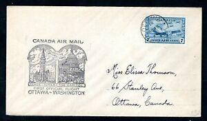 Canada - 1946 First Flight Airmail Cover Ottawa to Washington, USA