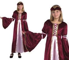 Para niños niños Renacimiento Princesa Fancy Dress Costume Tudor Traje de chicas M