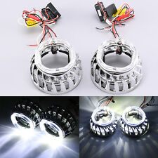 "Pair 2.5""/64MM LED Projector Chrome Shroud Cover Dual Angel HID Lens Halo F2F"