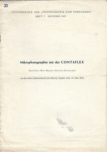 Zeiss Ikon Sonderdruck - Mikrophotographie mit der Contaflex