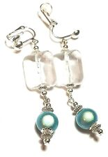 Long Silver Turquoise Clip On Earrings Chinese Miracle Bead Tibetan Style