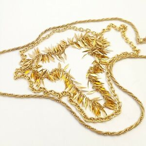 Vintage Gold Tone Chain Necklaces to Layer Instant Collection of 3 Necklaces