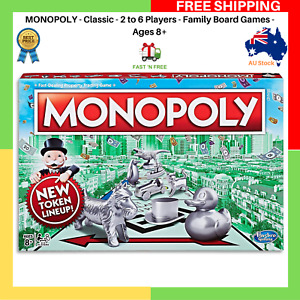 MONOPOLY - Classic - 2 to 6 Players - Family Board Games - Ages 8+ BRAND NEW AU