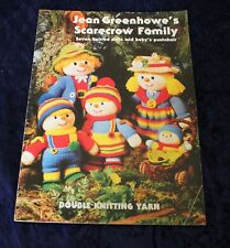 Jean Greenhowe SCARECROW FAMILY seven knitted dolls + pram + insects mice flower
