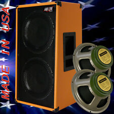 2x12 Vertical Guitar Speaker Cabinet Orange Tolex W/Celestion Greenback Spkrs