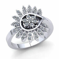 Flower Right Hand Ring 10K Gold Natural 1.5carat Round Cut Diamond Ladies Bridal