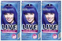 Schwarzkopf Live Ultra Brights 095 Electric Blue Semi-Permanent Hair Dye x3