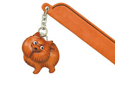 Japanese spitz Leather dog Charm Bookmarker *Vanca* Made in Japan #61738