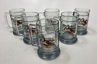 """Set of 6 Vintage Goose Geese Waterfowl Heavy Glass Mugs Ned Smith ? 5.25"""" Tall"""