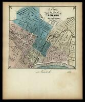 Newark New Jersey 1853 rare Magnus hand colored city map as letter sheet