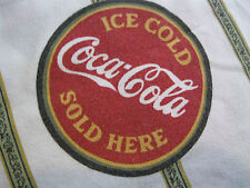 Vtg Coca Cola Coke Logo Signs Twin Flat Sheet Fabric Htf Collectible Usa Made