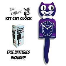 "ULTRA VIOLET KIT CAT CLOCK 15.5"" Purple Free Battery MADE IN USA Kit-Cat Klock"