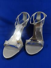 NEW Special Occasions by Saugus Shoe KAYLA 550 Silver Satin T-Strap Sandal 11B