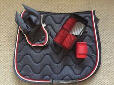 Denim And Red Saddle Pad Full Size And Fly Veil /Bandages Bargain Matchy