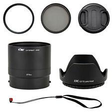 Kit Nikon Coolpix P600 UV CPL Filter 72mm Lens Adapter Cap Hood Strap