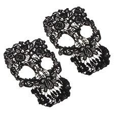 Prettyia 2PCS Skull Wedding Lace Trim Cloth Gothic Embroidery Dress Applique