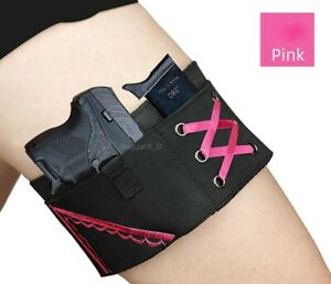 Tactical Carry Concealed Elastic Women's Ladies Leg Band Thigh Gun Holster Black