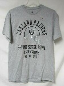 Oakland Raiders Men's Size M or L 3 Time Super Bowl Champions T-Shirt A1 3751