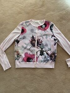 Designer Ladies Gorgeous Pink Ted Baker Cardigan Size 3 12- 14 Excellent Cond