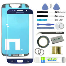 SAMSUNG GALAXY S6 Blue Replacement Screen Front Glass Lens Repair Kit+ 2mm Tape