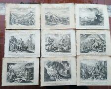 1723 147) LOTTO 9 INCISIONI IN RAME DUFLOS ANTICO TESTAMENTO MOSE' GEDEONE Ecc.