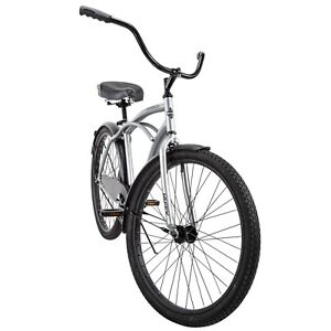 Huffy 56409P7 26 inch Cruiser Bicycle,Silver comfort Bike New Free Fast Shipping