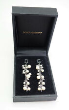 Dolce Gabbana sterling silver faux pearl D G letters long drop earrings
