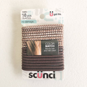 Scunci 58882-A Color Match No Damage Pony Tail Holders Elastics Brown 18 count