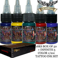 18 Round Shader Tattoo Needles + Infinitii Tattoo Ink 5 Color 1/2oz Ink Set