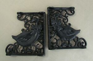 Pair Vintage 2 Tier Shelf Spacer Brackets Black Cast Iron Goose Duck Home Garden