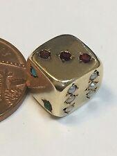 Early Vintage 9 Carat Gold STONE SET DICE Charm Birmingham 1961 rare