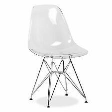 Eame Style Ghost Steel Eiffel Chair Clear Transparent DSR Retro Dinning X Office