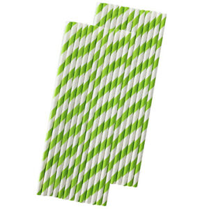 Lime Green Stripe Paper Straws - 50 Pack - Outside the Box Papers