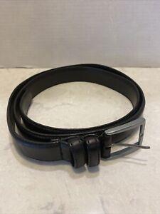 Eddie Bauer Belt Mens XL Black Italian Leather Silver Hardware Casual Preppy