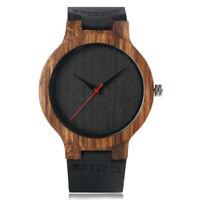 Novel Bamboo Nature Wood Bracelet Genuine Leather Band Men's Quartz Wrist Watch