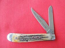 VINTAGE ROBESON FROZEN HEAT 2 BLADE BLADE STAG TRAPPER HANDLES KNIFE