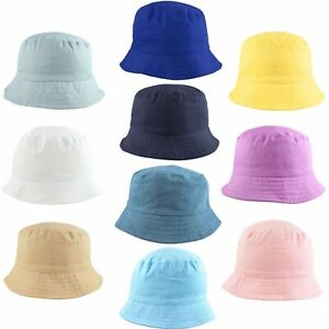 Kids Bucket Hats Sun Hat Summer Cotton Cap Toddler Children Boy Girl 2-13 Years