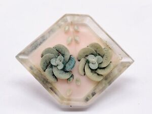 VINTAGE REVERSE CARVED LUCITE FLOWER PLASTIC EARLY LADIES PIN BROOCH