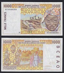 Africa Ovest 1000 francs 1997 BB+/VF+  B-10