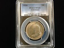 1936 Cleveland Commemorative Silver Half Dollar 50C Coin PCGS MS66