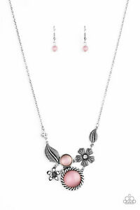 ~Exquisitely Eden~ Pink Necklace & Earrings Paparazzi Jewelry