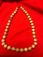 Vintage Cream/Brown/Black Lucite Gold Tone Accents Beaded Necklace 22""