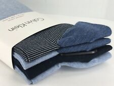 Men's CALVIN KLEIN Blue BOLD PATTERNS 49% COTTON Dress Socks - 4 Pack - $36 MSRP