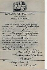 POSTCARD  GRETNA  Marriage  Certificate