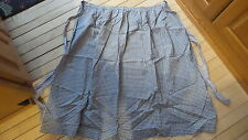 Antique Pioneer HALF APRON, Long, Early NAVY BLUE & CREAM SMALL PLAID
