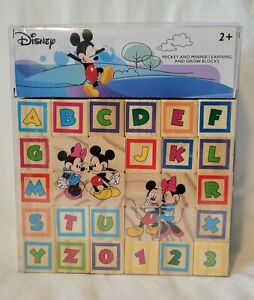 Disney Mickey and Minnie Learning and Grow Wood Blocks, 40 Pieces, 2+