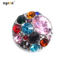 Rhinestone Chunk Snap Charms 18mm Snap Button Round Shape For 20mm Snap Jewelry