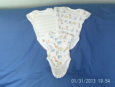 Baby Boys 3-6 Months - Three Short-Sleeved Vest Tops - Animals & Stripes